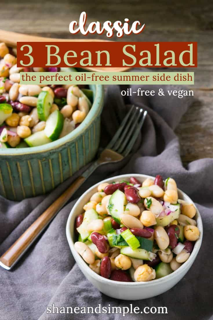 Jun 26, 2020 – Vegan Three Bean Salad made with chickpeas, red kidney beans, cannellini beans, cucumber, celery, spices,…