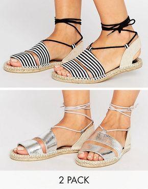 Pack de dos pares de alpargatas estilo sandalias JANICA de ASOS   23,99 €   970142
