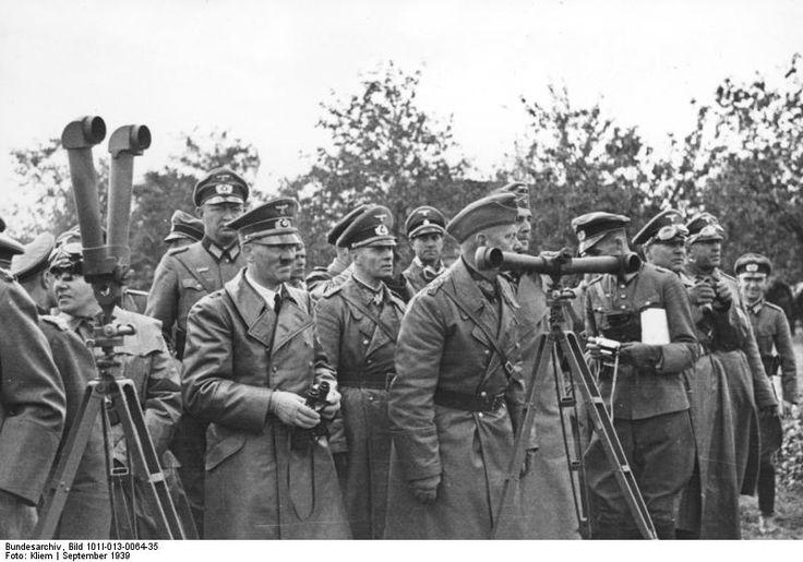 Martin Bormann, Adolf Hitler, Erwin Rommel, and Walter von Reichenau in Poland, Sep 1939