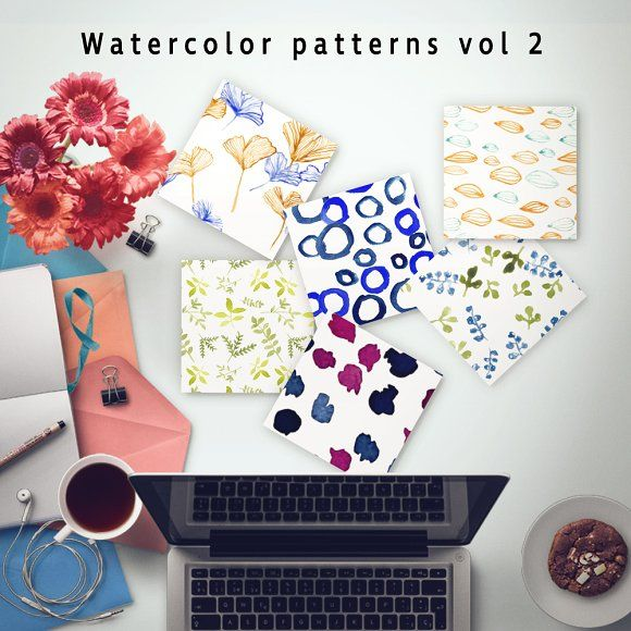Watercolor patterns Vol.2 by Emjwalker on @creativemarket