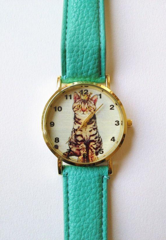 Mint Green Cat Wrist Watch - cat jewelry, kitten watch, womens watches, hipster watch, unique watches, green watch, cute watch, animal watch