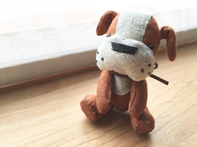 受注製作 ブルドッグ ブラウン リネンのちいさな ぬいぐるみ 犬 ペット 動物 ぬいぐるみ インテリア プレゼント