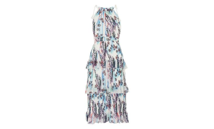 Channel a bohemian inspired mood with this flowing, tiered dress that's perfect for partywear, holiday wardrobes or summer in the city. The multicoloured floral print is modern and easy to style whilst the fitted waist keeps the look feminine.