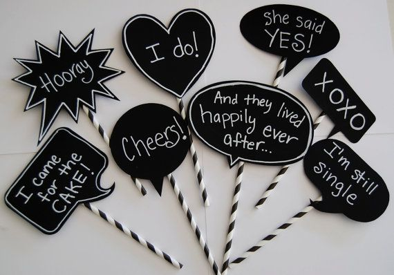 8 Chalkboard Photo Booth Props Speech Bubbles  Chalk Board message Signs  - Party  Photo Decorations  wedding shower parties on Etsy, $15.95