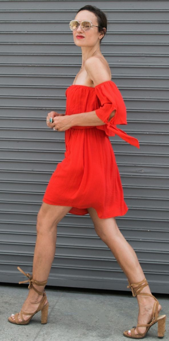 #summer #cute #outfits | Little Red Dress + Camel Sandals
