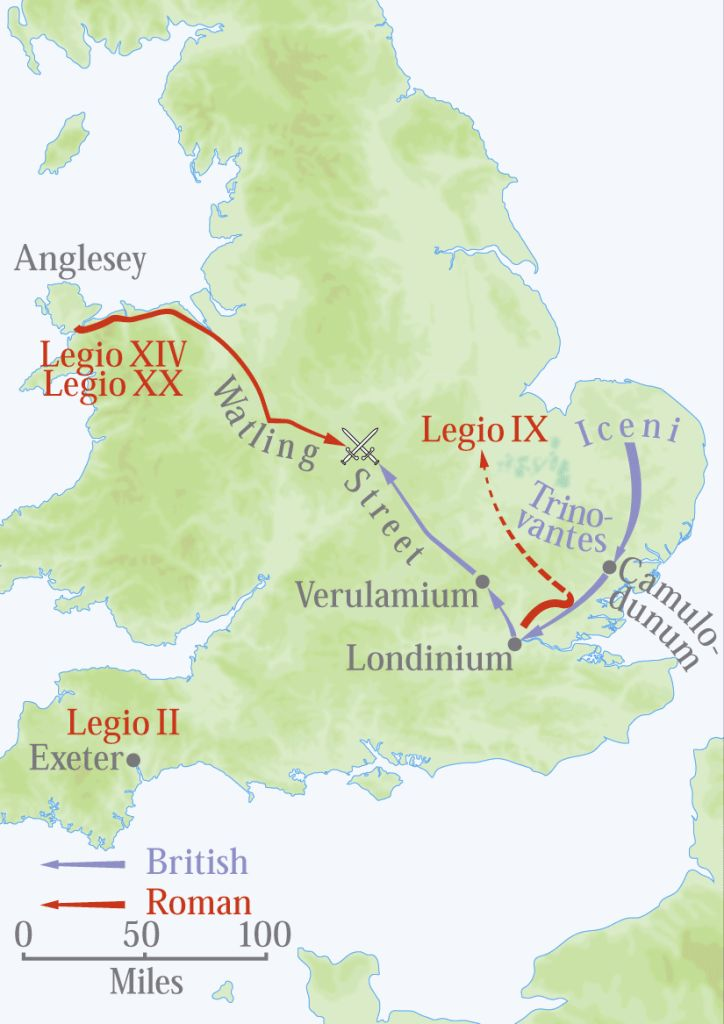 Battles between Iceni chieftain Boudica, blue, and Roman governor Paulinus, red.