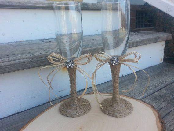 rustic wedding glasses, Mr and Mrs toasting flutes, burlap wedding bride and groom glasses on Etsy, $35.00