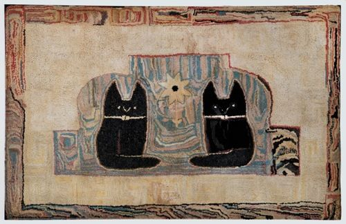 """TWO CATS RUG  American, 4th quarter of 19th c. Cotton on burlap. 32"""" x 50"""" Minor scattered repairs.   $ 7500."""