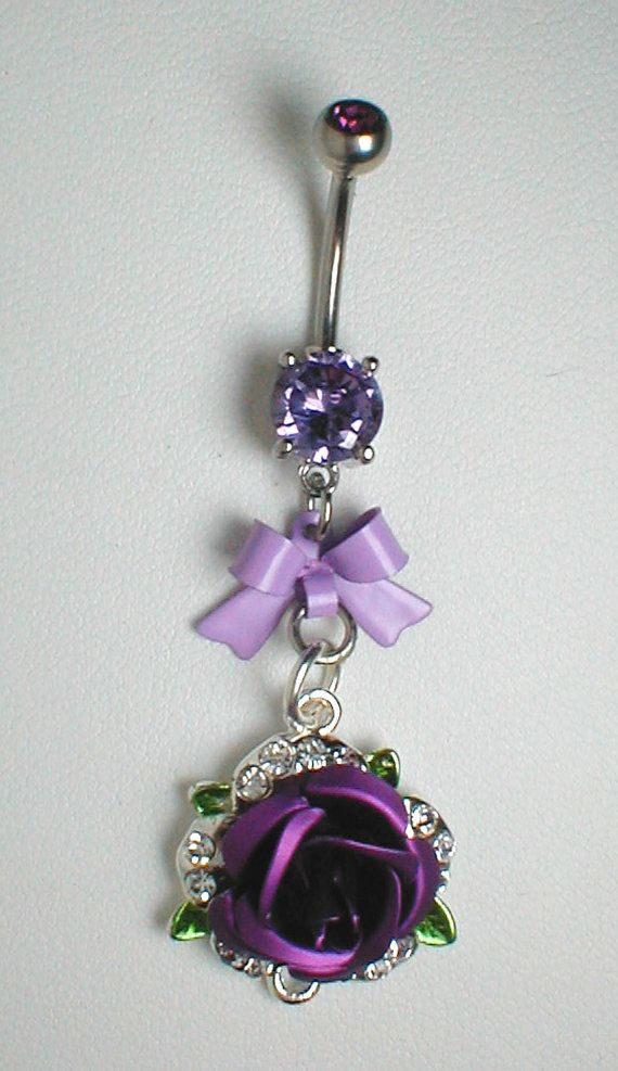 Unique Belly Ring - Purple Rose with Bow I want my belly pierced just so I can wear this!