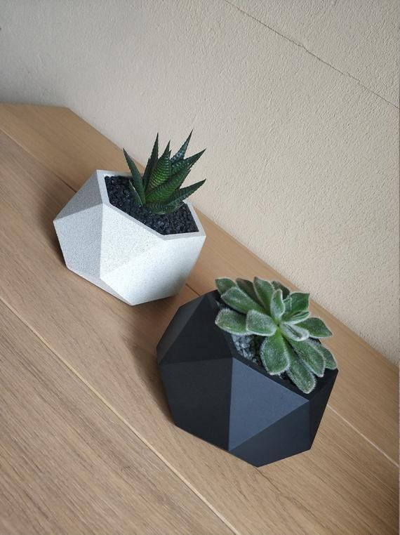 Gypsum Pot Unique Flower Pots Black Plant Pot Geometric Etsy Unique Flower Pots Flower Pots Flower Pot Design
