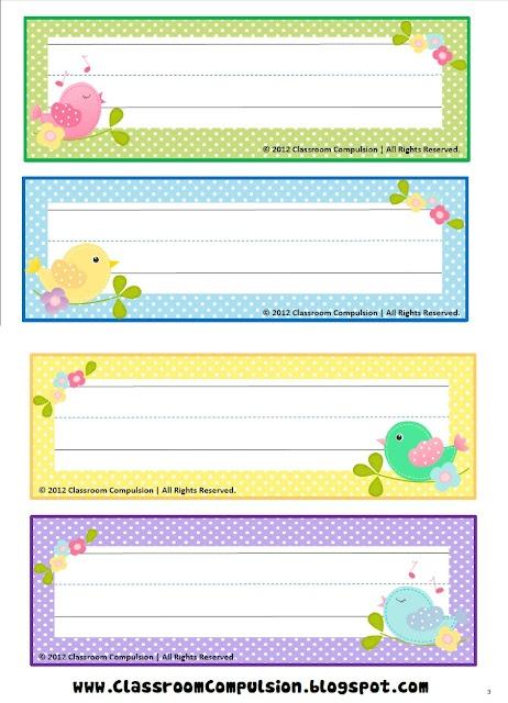 FREE Bird Name Plate printables