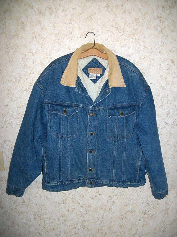 Vintage Wrangler Hero Denim Trucker Jacket Sherpa Lining Etsy Vintage Wrangler Trucker Jacket Denim