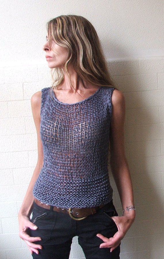 Summer bamboo tank in steel blue with teardrop opening on the lower back on Etsy, no longer available.
