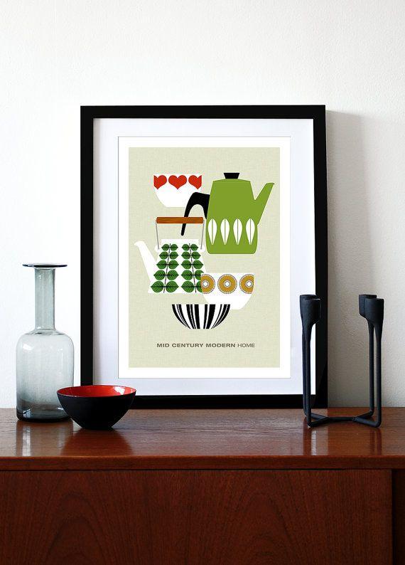Mid Century Modern poster print retro Scandinavian cathrineholm Stig Lindberg tea coffee kitchen art - Mid Century Modern Home 1 A3