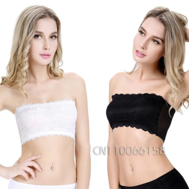 Women Padded Cropped Bustier Bralette Lace Stomach Chest Wrap Corset Crop Top Underwear Tank Strapless Sexy Tube Top BR5052
