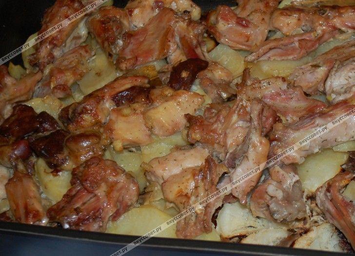 Кролик с картофелем в духовке пошаговый рецепт с фото