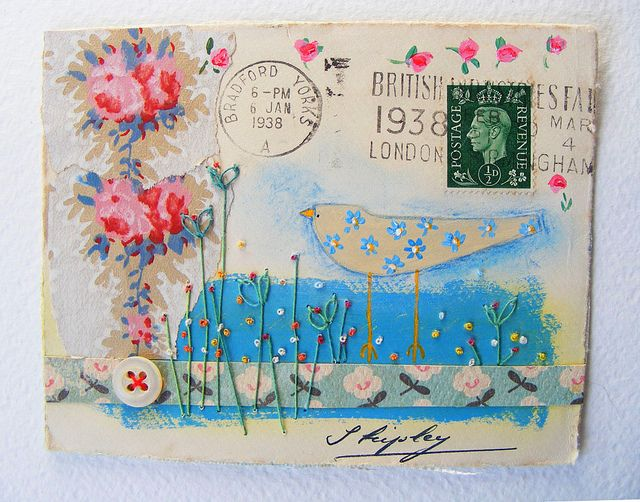 A British Envelope with original artwork on 1938 envelope - by hens teeth. Isn't this just incredible! Wouldn't you love to receive something like this through the post.... you'd never throw it out - it would be kept in a special place and taken out to remind you of the love which went into the artwork, and the time someone spent doing this just for you!
