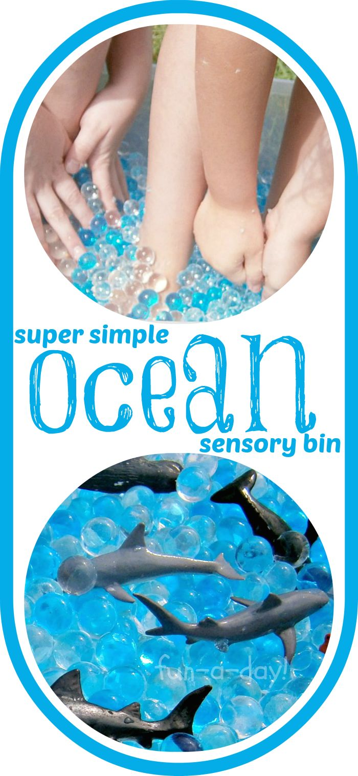 Super simple ocean sensory bin! Hours of fun, and such an easy set up!