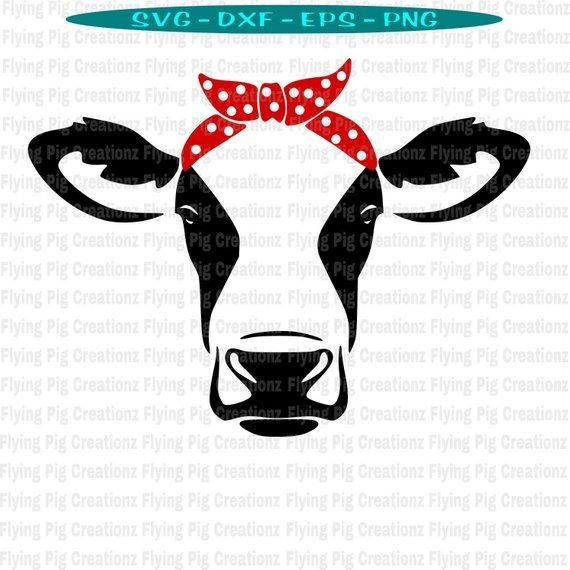 Cow Svg Cow With Bandana Svg Cow With Bow Svg Cow With