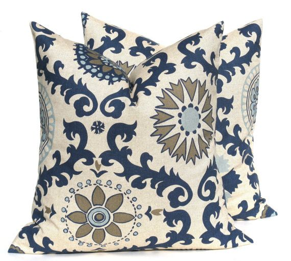 decorative throw pillows blue pillow blue tan by eastandnest 3000 - Blue Decorative Pillows