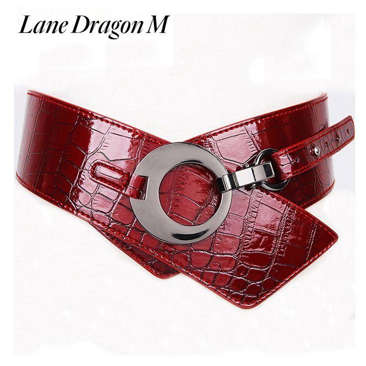 [Lane Dragon M] Fashion Solid Color Pattern Belts Female Women's Genuine Leather Wide Belt Brand Ladies Adjustable Belt D0044