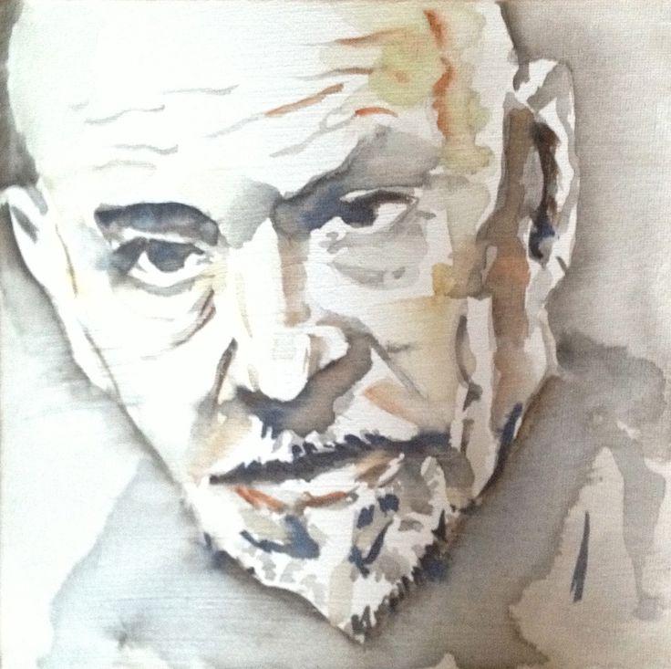 Luigi Pirandello watercolor on canvas 20x20
