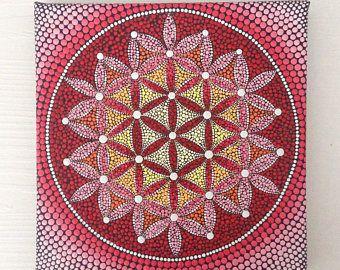 Blume des Lebens Originalgemälde auf Leinwand, Malerei, Büro und Haus ornament Henna Kunst Geschenk Dotilism Dotart, Blumen-Mandala 20x20cm
