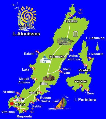 ☼ Grecia Greece ☼ Sporades  Islands alonissos map