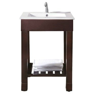 LOFT 24 In. Vanity with vitreous China top and slat shelf in dark walnut over birch $650