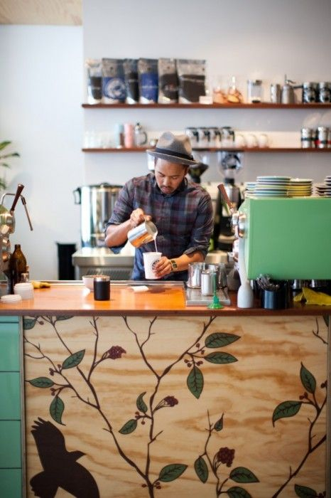 League Of Honest Coffee, Melbourne. Love the hand painted plywood front counter and pastel mint espresso machine.