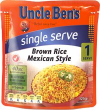 Uncle Ben's brown rice Mexican style. So yummy and great for work. Pop in an oven bag with tuna and veggies and good to go!