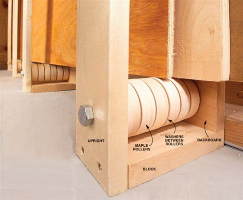 Rollers Ease Plywood Storage Before I installed these rollers, sliding plywood…