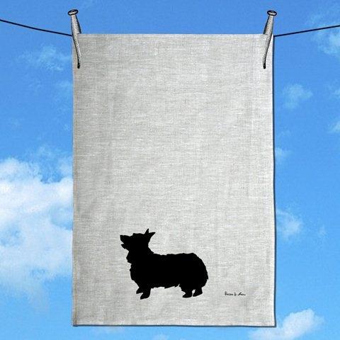 Corgi Silhouette Linen Tea Towel  by Paloma Le Sage Handprinted. #Andable | When you buy, we share -