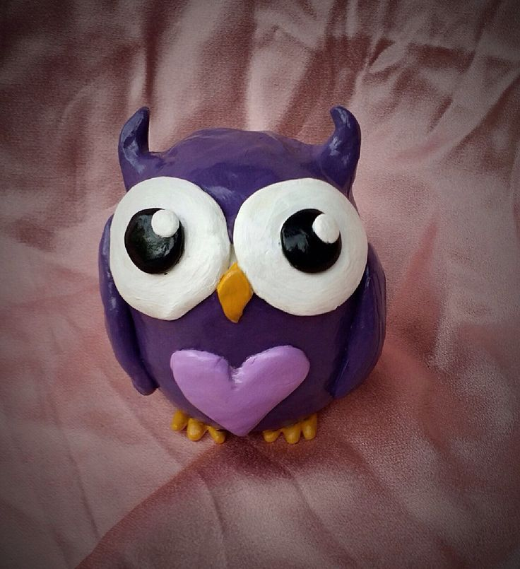 Polymer clay owl, clay owl, owl sculpture, owl figure, owl figurine, polymer clay, polymer clay figure, purple owl, cute owl, owl toy - pinned by pin4etsy.com