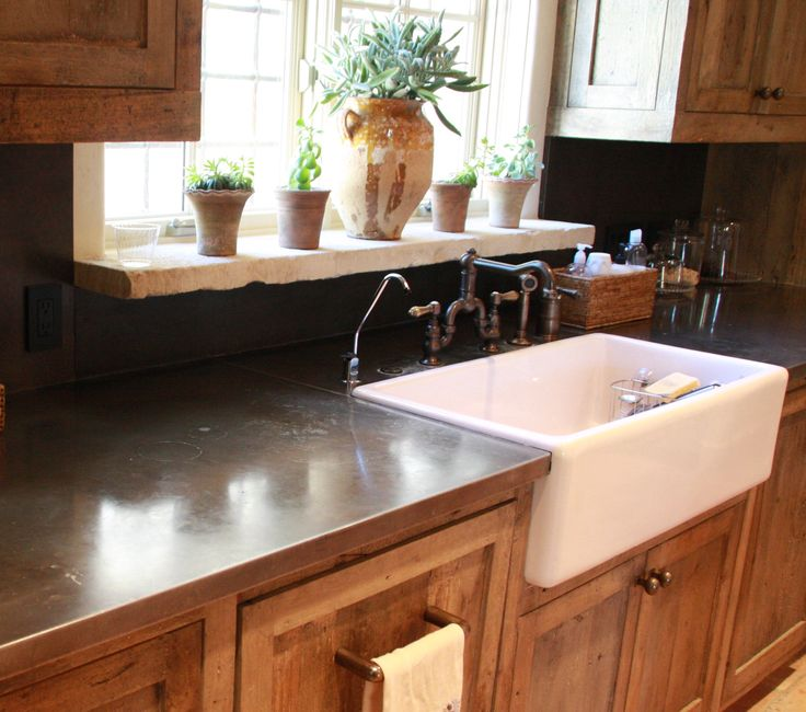 Metal Countertops, Zinc Table And Gray Kitchen