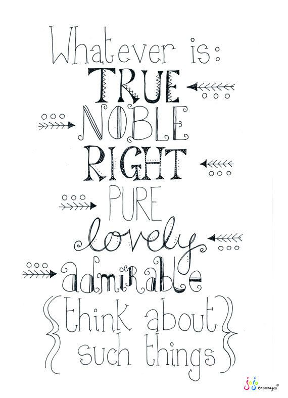Whatever is True Noble Right Pure Lovely by jojoencourages on Etsy, $20.00