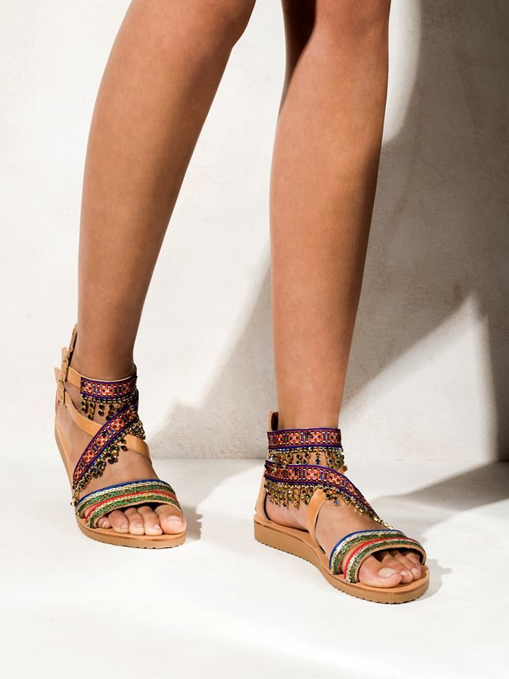 Sansa  Flat form sandals, featuring warm toned crystals, colorful trims, two adjustable straps in the ankles and a rubber anti slippery sole  Get the experience: http://www.elinalinardaki.com/shoes/sandals/new-collection/sandal-sansa/