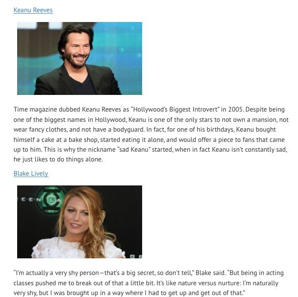 Introverts Keanu Reeves and Blake Lively
