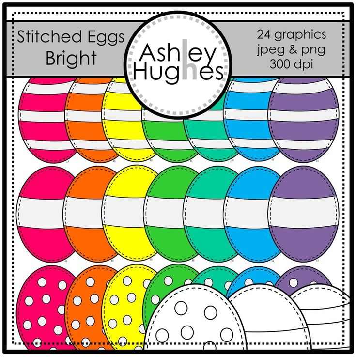 $ Stitched Eggs (Bright): Graphics/Clipart for Commercial Use