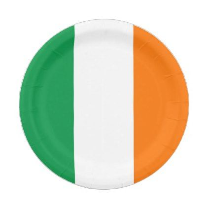 Patriotic paper plate with flag of Ireland - kitchen gifts diy ideas decor special unique individual customized