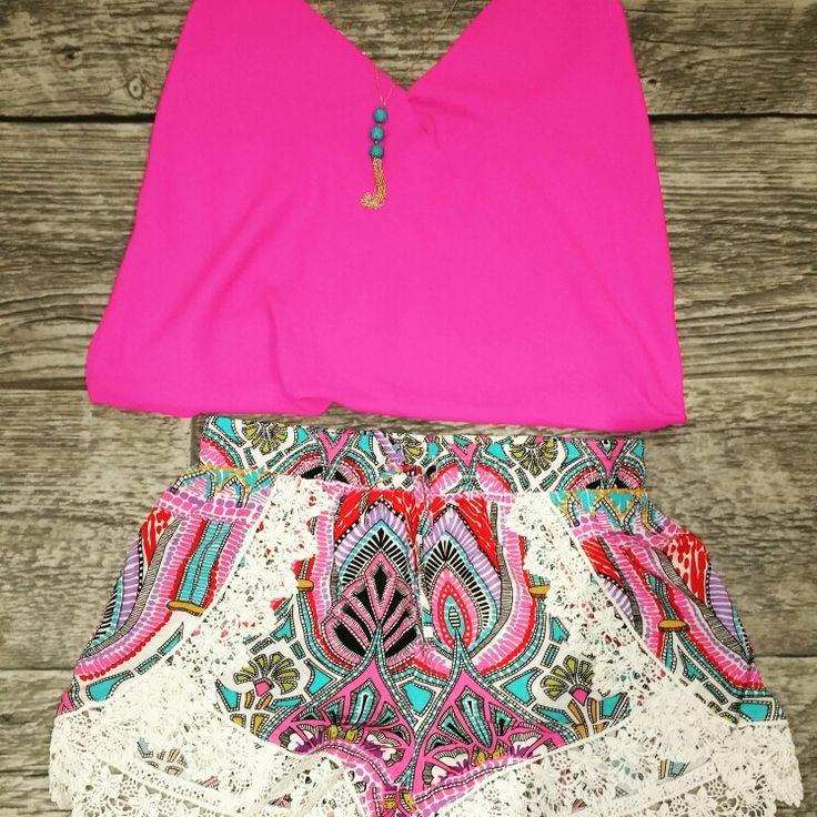 Hot Pink + Lace Shorts Shopellableu.com