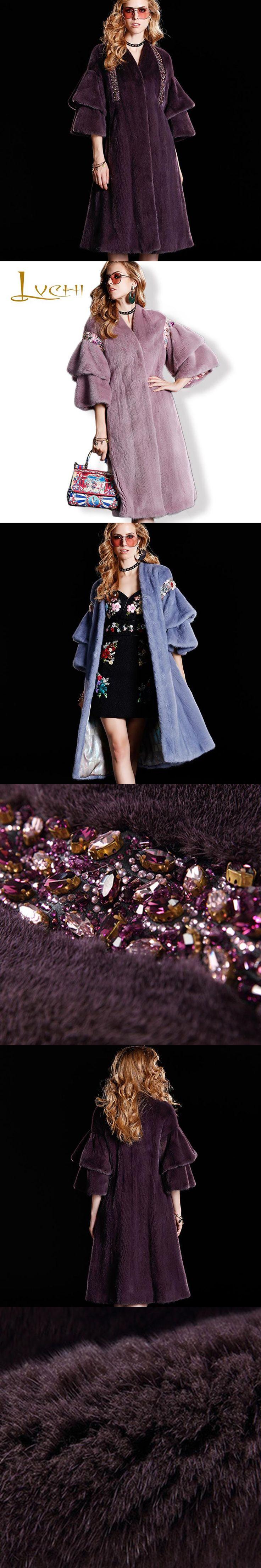 LVCHI Draped Sleeve Skirts Mink Fur Coats 2017 Diamond Fashion V Neck Fur Topcoat Winter Women Clothing Real Fur Coat Plus Size