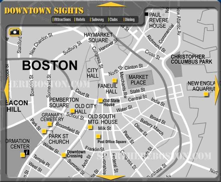 Map of downtown sightseeing in Boston