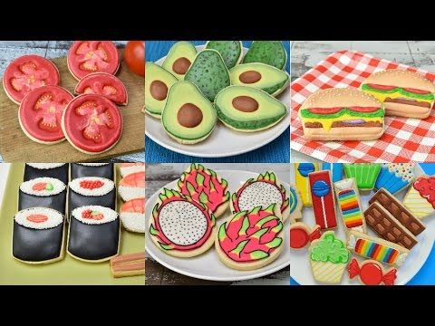 I love to decorate cookies that look like real food. In this compilations you will see how to make Avocado, Hamburger, Sushi, Fruit Salad, Dragon Fruit, Cand...