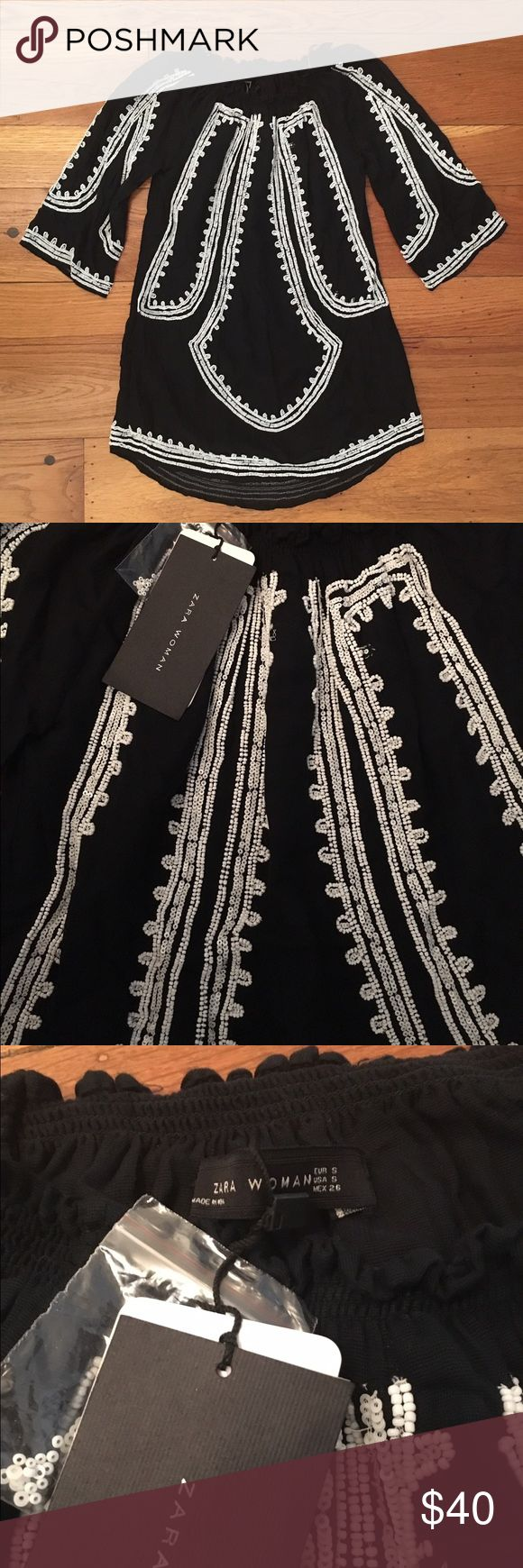 Zara Beaded Dress NWT Black dress with white beads and sequins. NWT, never been worn. Great for over swimsuit poolside or summer evening date nights! Size Small Zara Dresses Long Sleeve