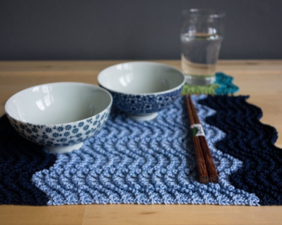 Knitted Lace Placemats and coaster  4 piece by KnittedWonderland.