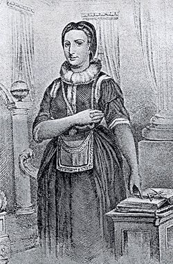 """This picture of Elizabeth Aldworth dressed in her Masonic regalia was published in Robert Freke Gould's """"Concise History of Freemasonry."""" The original from which the engraving was made is said to be a portrait painting in the possession of her descendents."""
