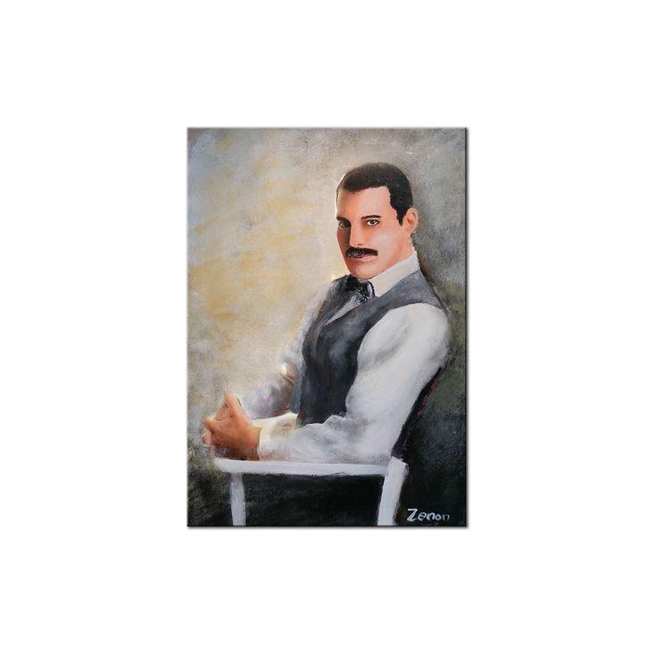 Schilderij van 'Freddy Mercury' de helaas veel te vroeg overleden zanger van Queen, Zenon heeft deze legendarische popartiest vereeuwigd op canvas, formaat 60 x 80 cm | Kunstvoorjou.nl #FreddyMercury #Queen #popartiest #muurdecoratie #canvas #schilderij #portretkunst #woonkamer #kantoorkunst