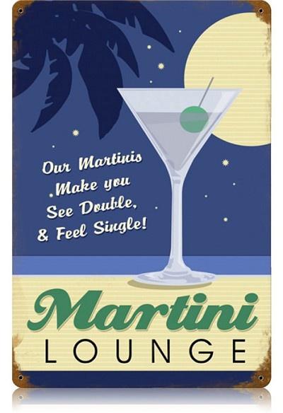 Martini Lounge Vintage Metal Sign