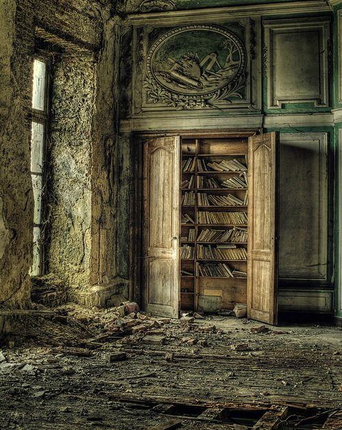 Abandoned mansion, more old books left behind. What a shame!